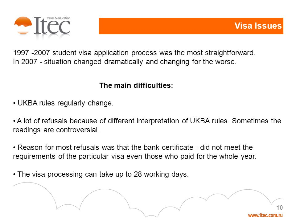 10 1997 -2007 student visa application process was the most straightforward.