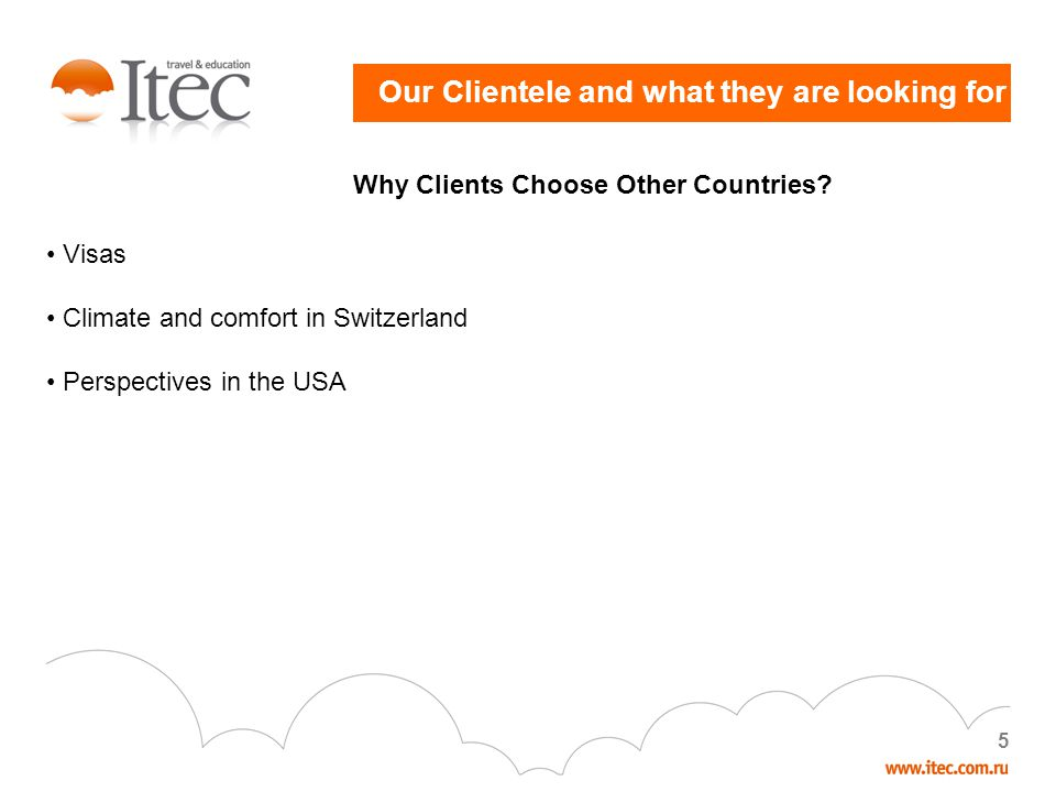 5 Our Clientele and what they are looking for Why Clients Choose Other Countries.