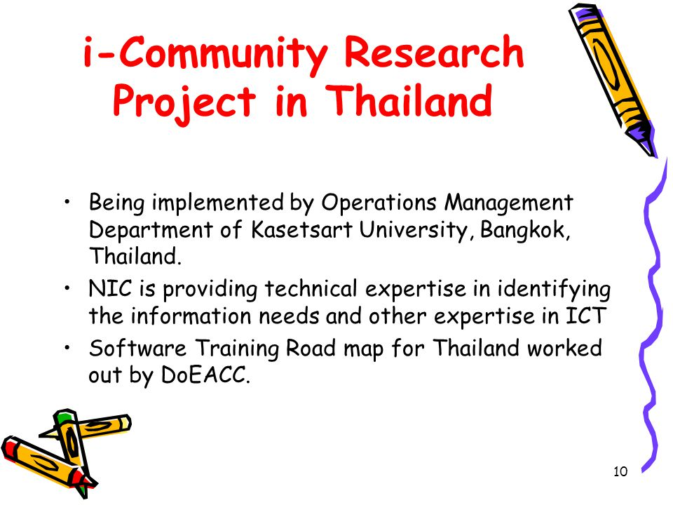 10 i-Community Research Project in Thailand Being implemented by Operations Management Department of Kasetsart University, Bangkok, Thailand.