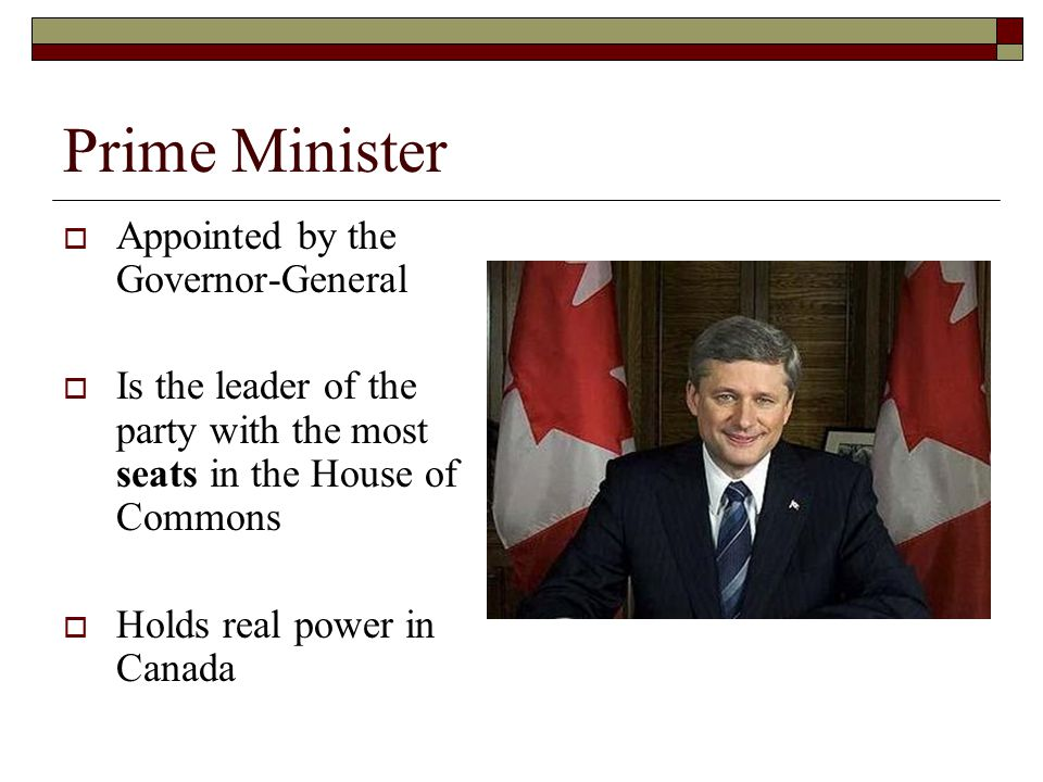 Prime Minister Appointed by the Governor-General Is the leader of the party with the most seats in the House of Commons Holds real power in Canada