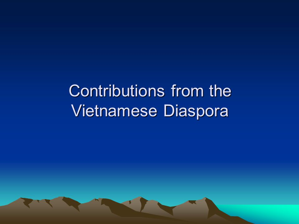 Contributions from the Vietnamese Diaspora