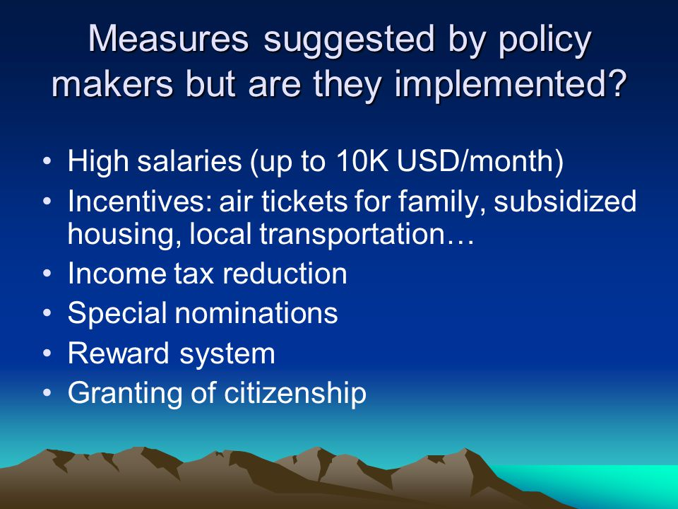 Measures suggested by policy makers but are they implemented.