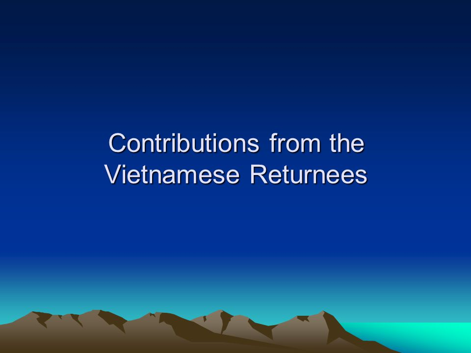 Contributions from the Vietnamese Returnees