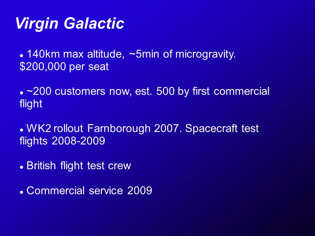 140km max altitude, ~5min of microgravity. $200,000 per seat ~200 customers now, est.