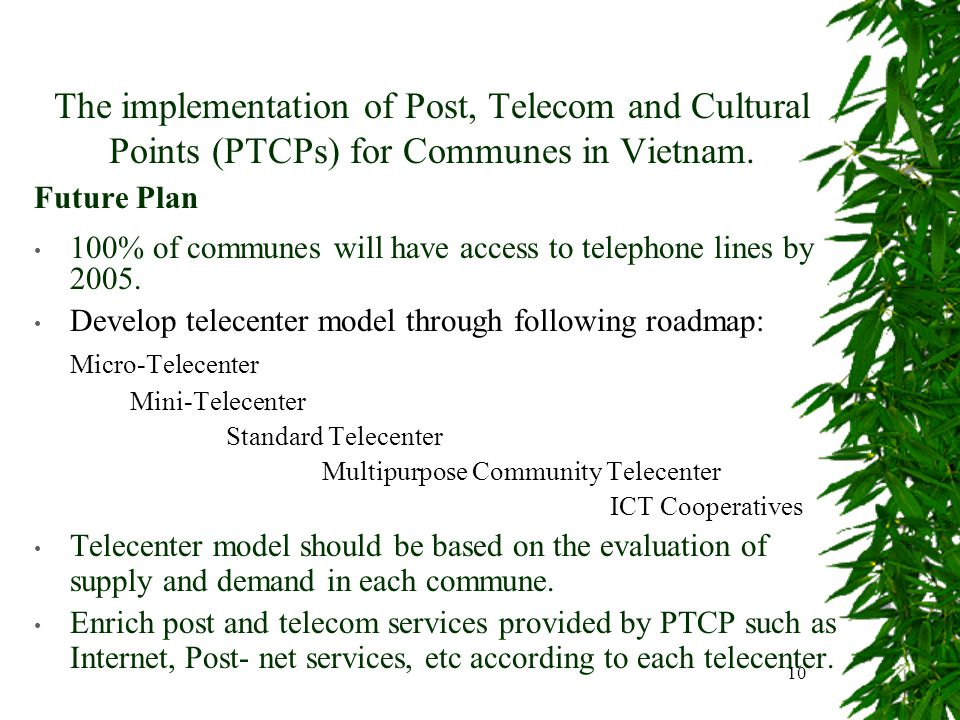 10 The implementation of Post, Telecom and Cultural Points (PTCPs) for Communes in Vietnam.