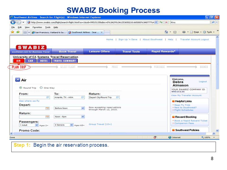 8 SWABIZ Booking Process Step 1: Begin the air reservation process.