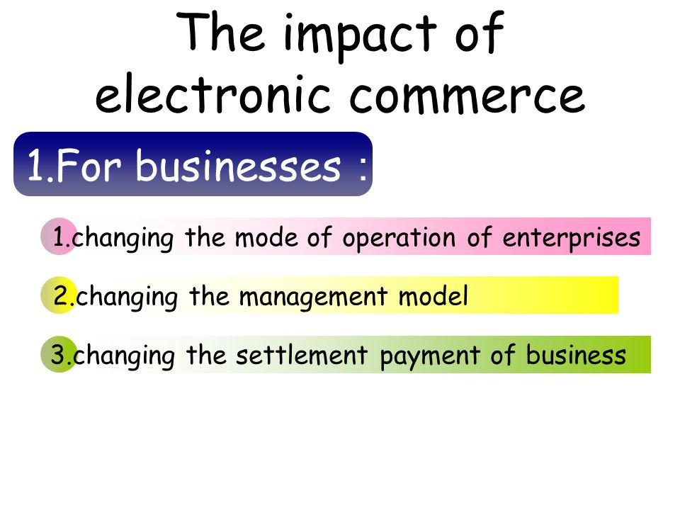 The impact of electronic commerce 1.changing the mode of operation of enterprises 2.changing the management model 3.changing the settlement payment of business 1.For businesses