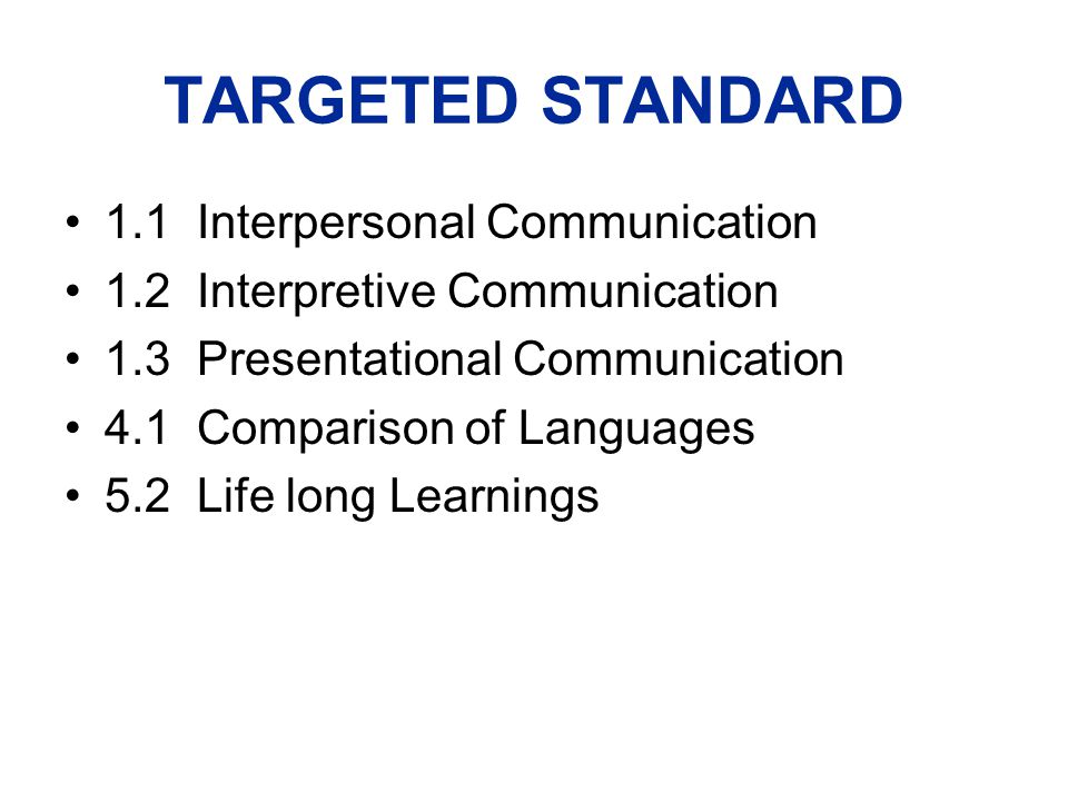 TARGETED STANDARD 1.1 Interpersonal Communication 1.2 Interpretive Communication 1.3 Presentational Communication 4.1 Comparison of Languages 5.2 Life long Learnings