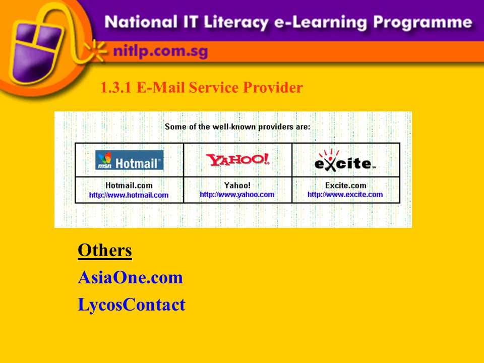 1.3.1 E-Mail Service Provider Others AsiaOne.com LycosContact