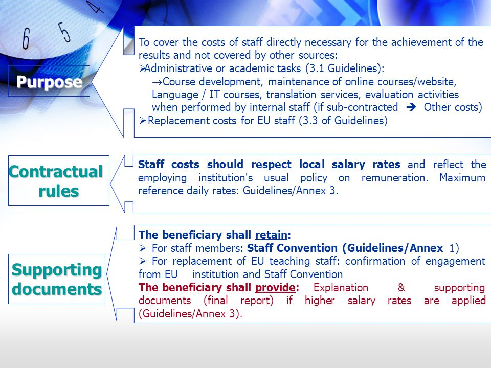 To cover the costs of staff directly necessary for the achievement of the results and not covered by other sources: Administrative or academic tasks (3.1 Guidelines): Course development, maintenance of online courses/website, Language / IT courses, translation services, evaluation activities when performed by internal staff (if sub-contracted Other costs) Replacement costs for EU staff (3.3 of Guidelines) Purpose Contractualrules Staff costs should respect local salary rates and reflect the employing institution s usual policy on remuneration.