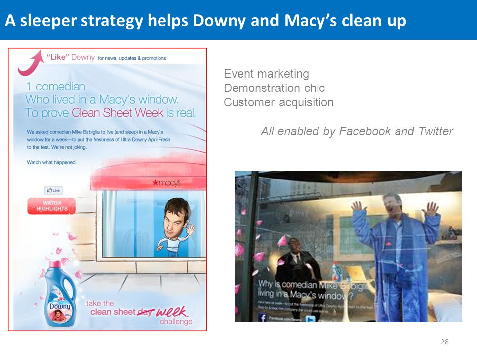 A sleeper strategy helps Downy and Macys clean up Event marketing Demonstration-chic Customer acquisition All enabled by Facebook and Twitter 28