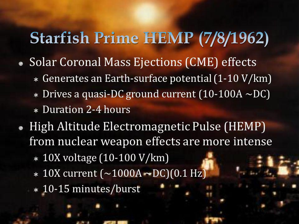 Solar Coronal Mass Ejections (CME) effects Generates an Earth-surface potential (1-10 V/km) Drives a quasi-DC ground current (10-100A ~DC) Duration 2-4 hours High Altitude Electromagnetic Pulse (HEMP) from nuclear weapon effects are more intense 10X voltage (10-100 V/km) 10X current (~1000A ~DC)(0.1 Hz) 10-15 minutes/burst