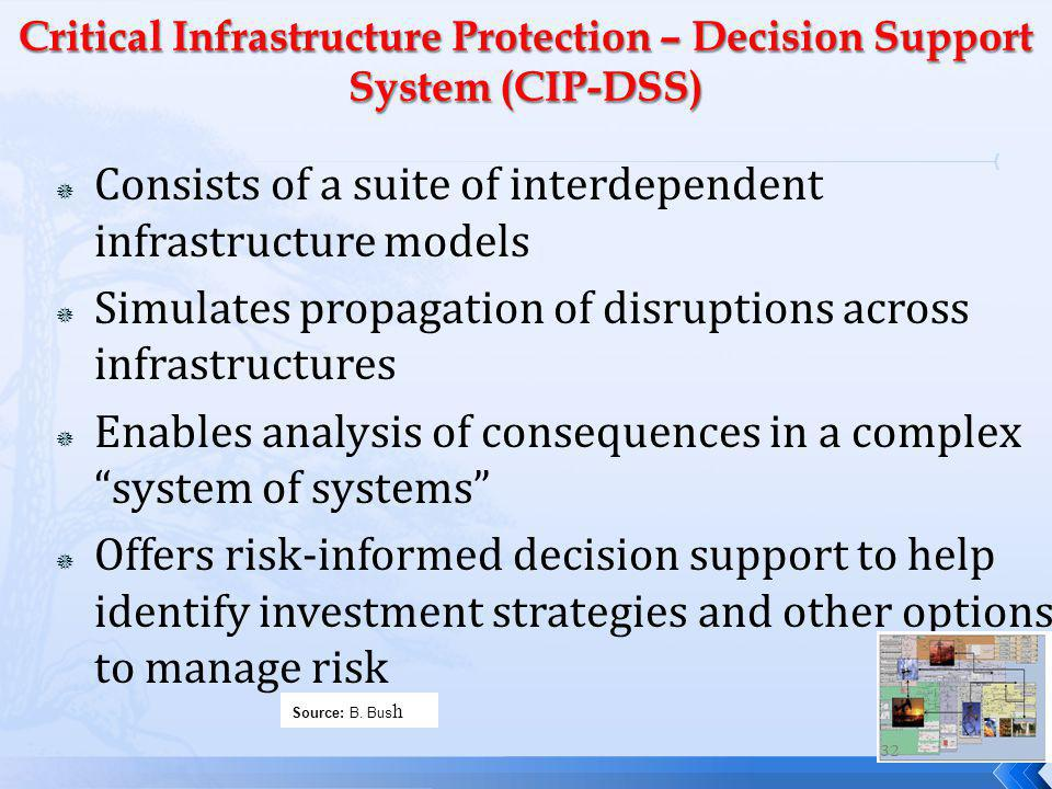 Consists of a suite of interdependent infrastructure models Simulates propagation of disruptions across infrastructures Enables analysis of consequences in a complex system of systems Offers risk-informed decision support to help identify investment strategies and other options to manage risk Source: B.