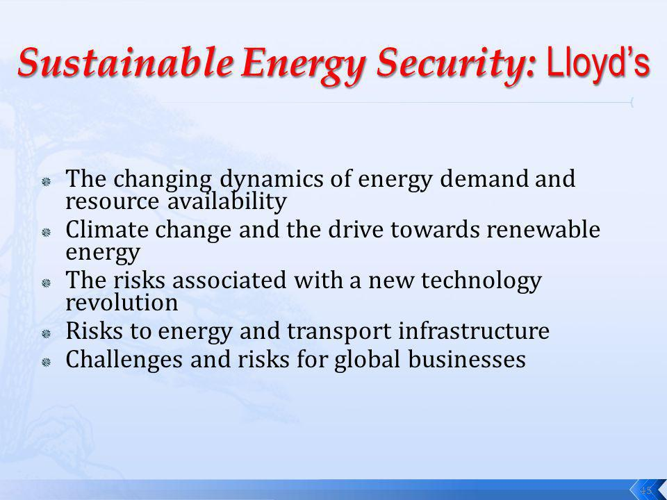The changing dynamics of energy demand and resource availability Climate change and the drive towards renewable energy The risks associated with a new technology revolution Risks to energy and transport infrastructure Challenges and risks for global businesses 45