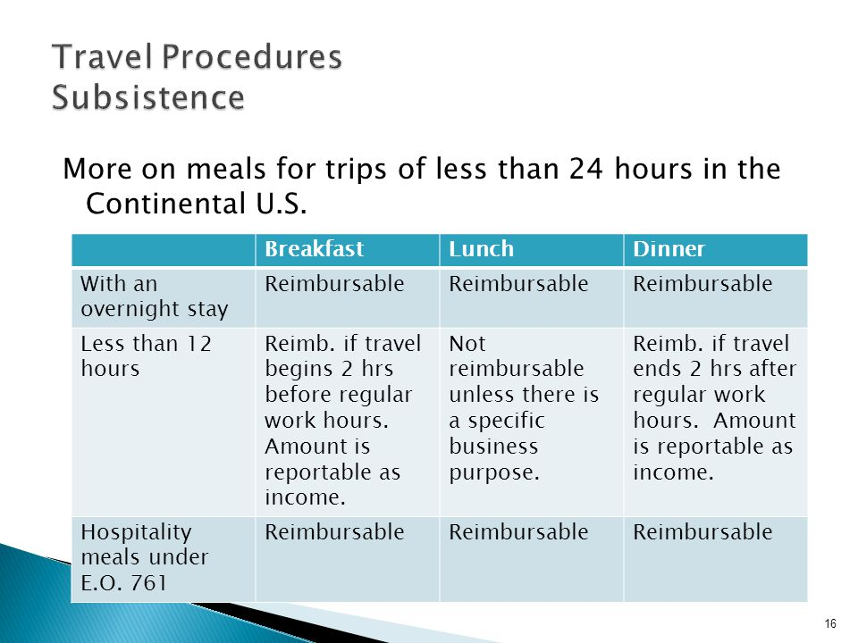 More on meals for trips of less than 24 hours in the Continental U.S.