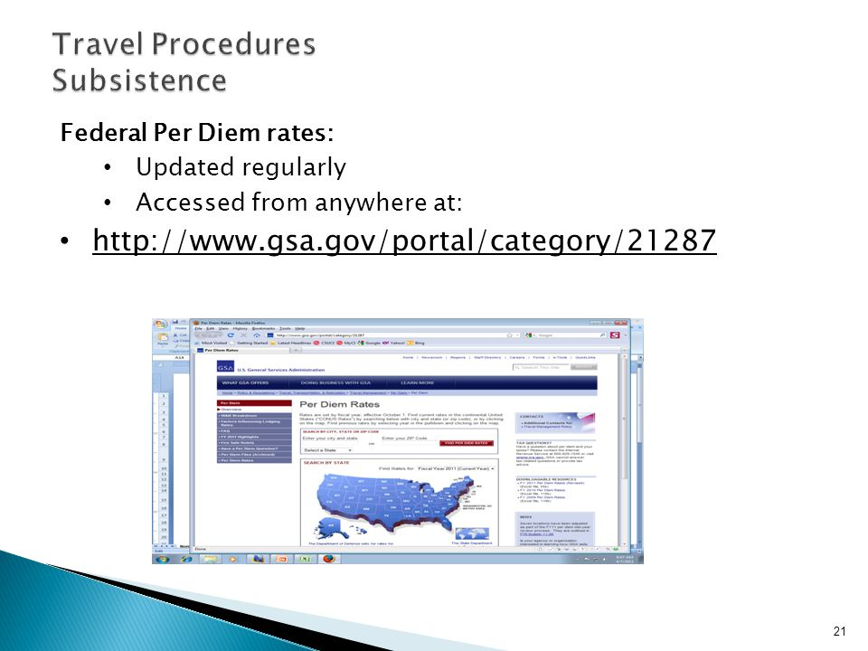 Federal Per Diem rates: Updated regularly Accessed from anywhere at: http://www.gsa.gov/portal/category/21287 21