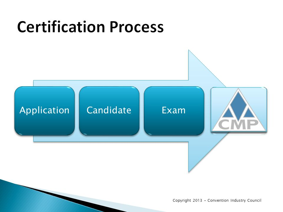 ApplicationCandidateExam Copyright 2013 - Convention Industry Council