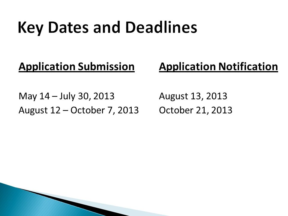 Application SubmissionApplication Notification May 14 – July 30, 2013August 13, 2013 August 12 – October 7, 2013 October 21, 2013