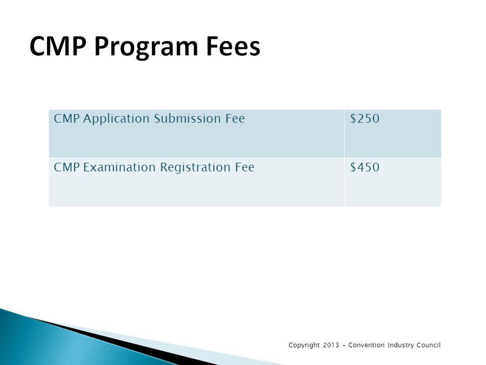 CMP Program Fees CMP Application Submission Fee$250 CMP Examination Registration Fee$450 Copyright 2013 - Convention Industry Council