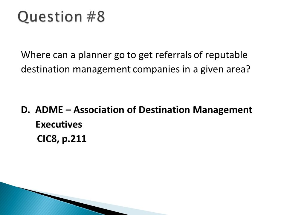 Where can a planner go to get referrals of reputable destination management companies in a given area.