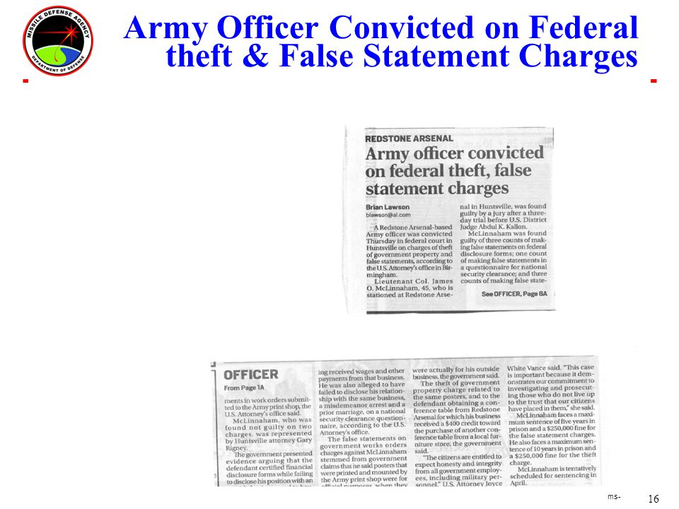 16 ms- Army Officer Convicted on Federal theft & False Statement Charges