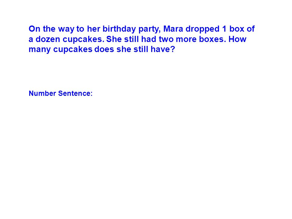 On the way to her birthday party, Mara dropped 1 box of a dozen cupcakes.