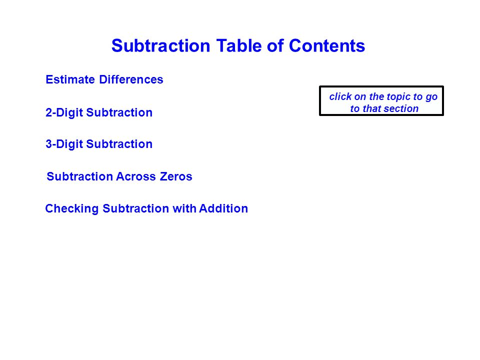Subtraction Table of Contents Estimate Differences 2-Digit Subtraction click on the topic to go to that section 3-Digit Subtraction Checking Subtraction with Addition Subtraction Across Zeros