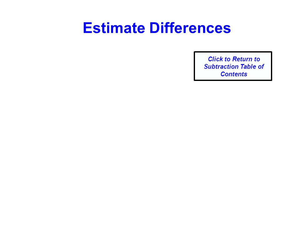 Estimate Differences Click to Return to Subtraction Table of Contents