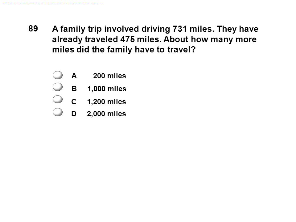 A family trip involved driving 731 miles. They have already traveled 475 miles.