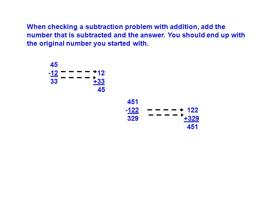 45 -12 12 33 +33 45 When checking a subtraction problem with addition, add the number that is subtracted and the answer.