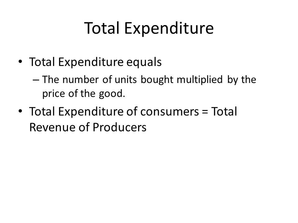 Total Expenditure equals – The number of units bought multiplied by the price of the good.