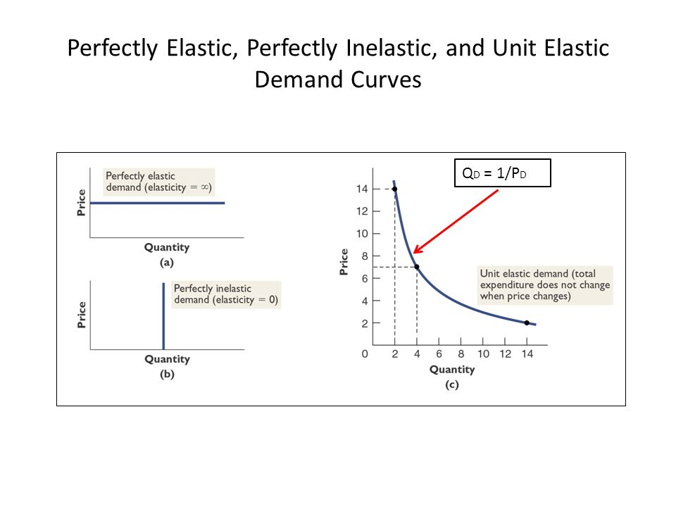 Perfectly Elastic, Perfectly Inelastic, and Unit Elastic Demand Curves © 2012 McGraw-Hill Ryerson Limited Ch4 -33LO5: Interpret Elasticities Q D = 1/P D