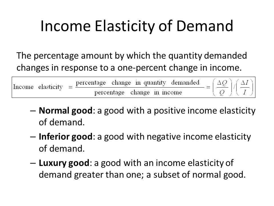 The percentage amount by which the quantity demanded changes in response to a one-percent change in income.
