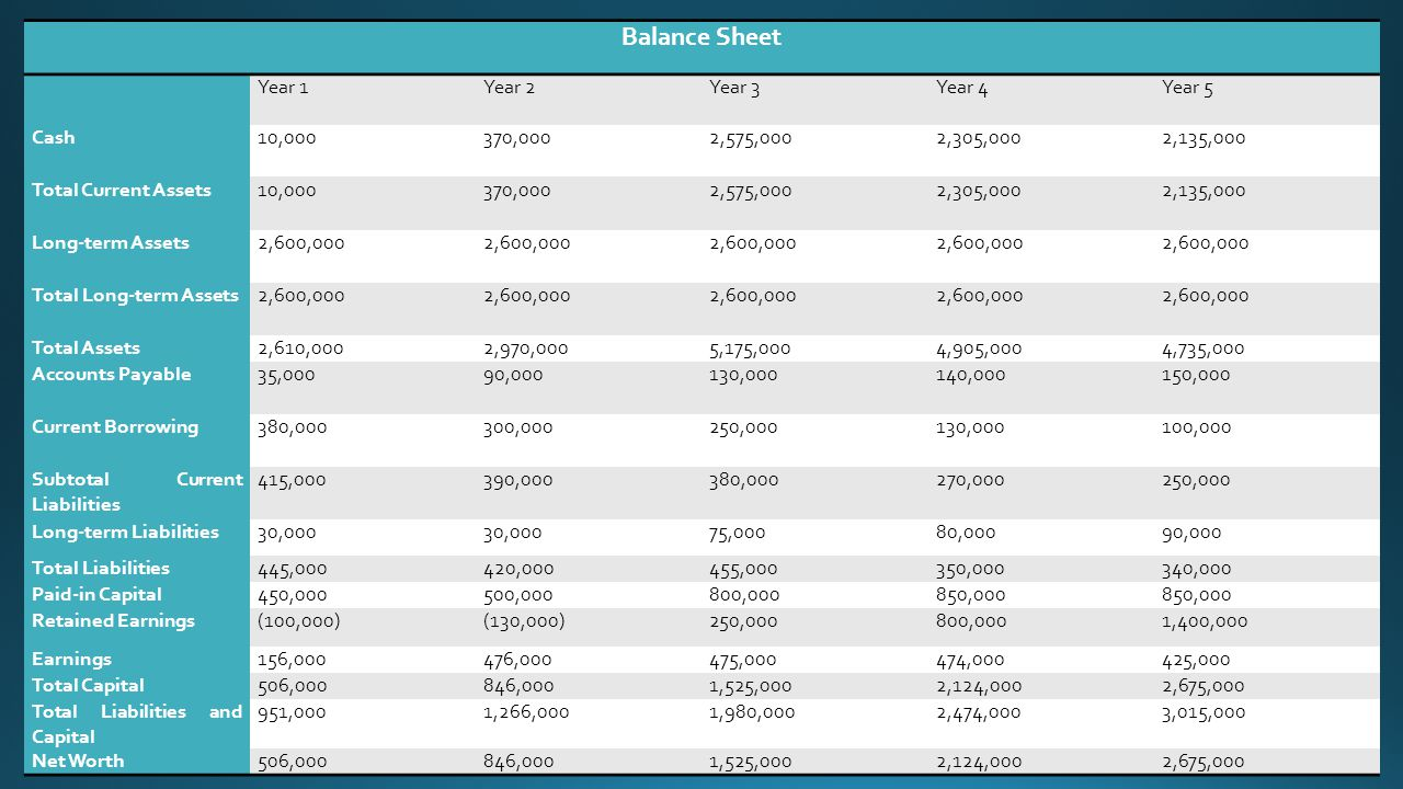 Balance Sheet Year 1Year 2Year 3Year 4Year 5 Cash10,000370,0002,575,0002,305,0002,135,000 Total Current Assets10,000370,0002,575,0002,305,0002,135,000 Long-term Assets2,600,000 Total Long-term Assets2,600,000 Total Assets2,610,0002,970,0005,175,0004,905,0004,735,000 Accounts Payable35,00090,000130,000140,000150,000 Current Borrowing380,000300,000250,000130,000100,000 Subtotal Current Liabilities 415,000390,000380,000270,000250,000 Long-term Liabilities30,000 75,00080,00090,000 Total Liabilities445,000420,000455,000350,000340,000 Paid-in Capital450,000500,000800,000850,000 Retained Earnings(100,000)(130,000)250,000800,0001,400,000 Earnings156,000476,000475,000474,000425,000 Total Capital506,000846,0001,525,0002,124,0002,675,000 Total Liabilities and Capital 951,0001,266,0001,980,0002,474,0003,015,000 Net Worth506,000846,0001,525,0002,124,0002,675,000