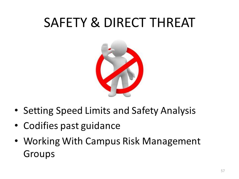 SAFETY & DIRECT THREAT Setting Speed Limits and Safety Analysis Codifies past guidance Working With Campus Risk Management Groups 57
