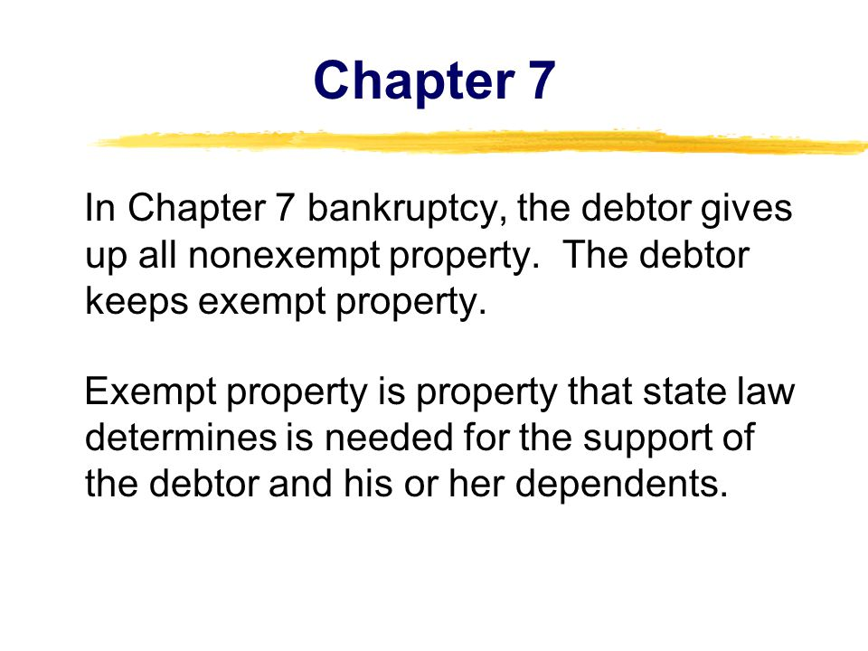 Chapter 7 In Chapter 7 bankruptcy, the debtor gives up all nonexempt property.