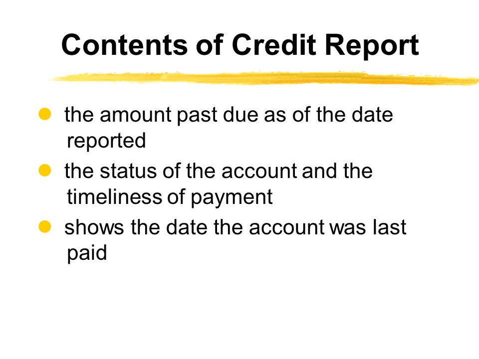 the amount past due as of the date reported the status of the account and the timeliness of payment shows the date the account was last paid Contents of Credit Report