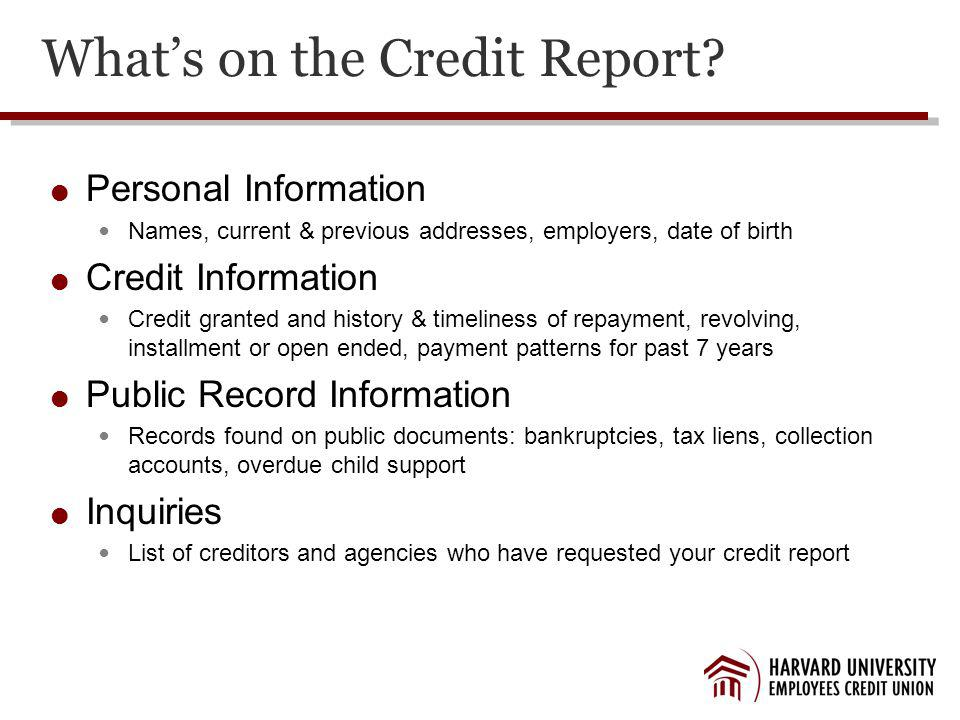 Whats on the Credit Report.