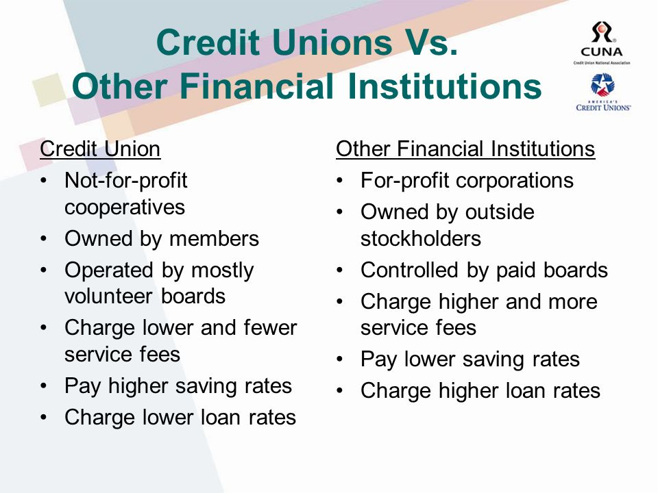The Credit Union System CUNA-Affiliated Credit Unions Leagues and League Service Corporations Credit Union National Association (CUNA) CUNA-related organizations World Council of Credit Unions (WOCCU) CUNA Mutual Corporate Credit Unions Association of Corporate Credit Unions (ACCU) U.S.
