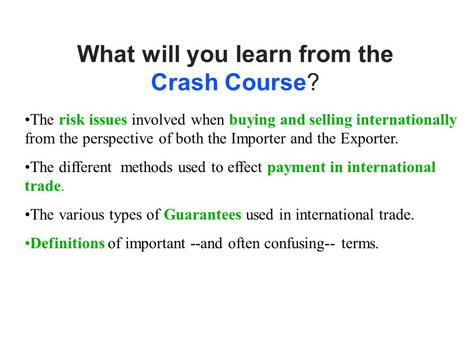 What will you learn from the Crash Course.