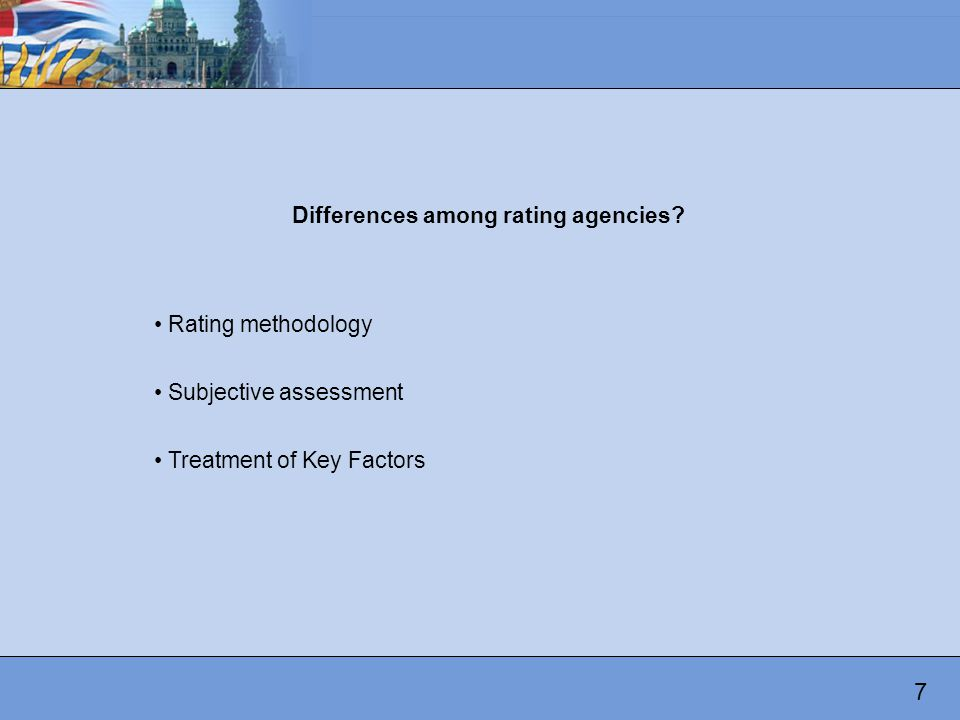 Differences among rating agencies.