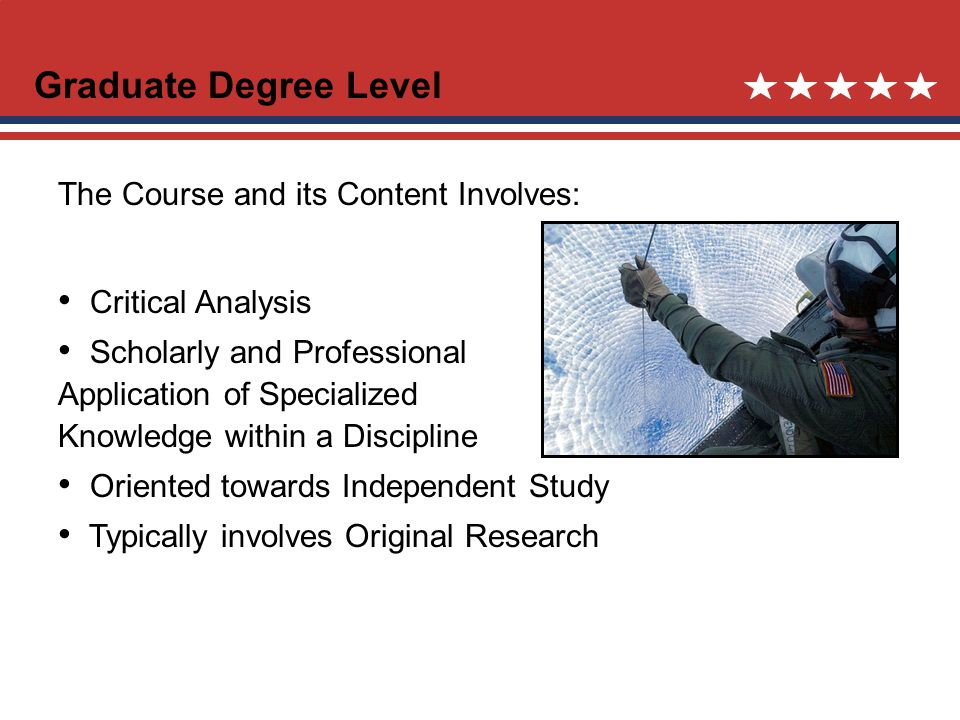 Graduate Degree Level The Course and its Content Involves: Critical Analysis Scholarly and Professional Application of Specialized Knowledge within a Discipline Oriented towards Independent Study Typically involves Original Research