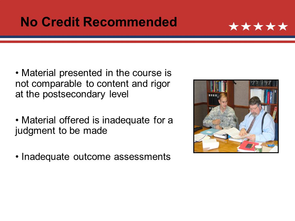 No Credit Recommended Material presented in the course is not comparable to content and rigor at the postsecondary level Material offered is inadequate for a judgment to be made Inadequate outcome assessments