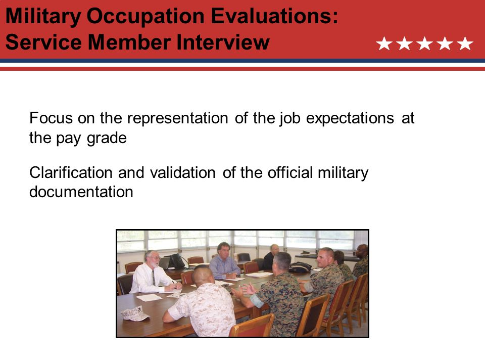 Military Occupation Evaluations: Service Member Interview Focus on the representation of the job expectations at the pay grade Clarification and validation of the official military documentation