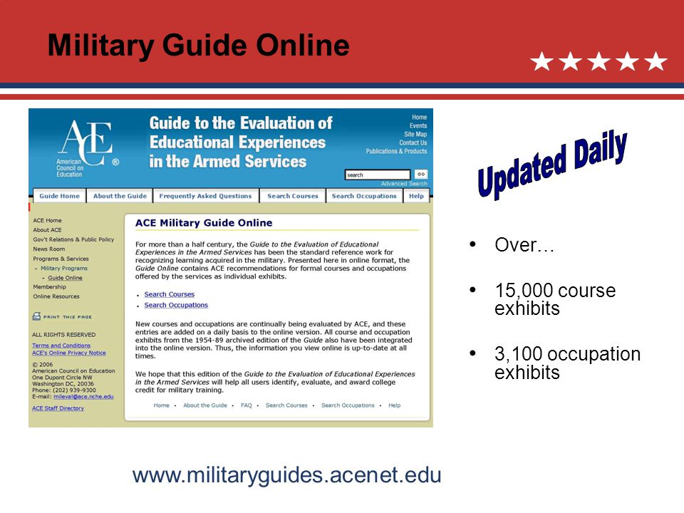 Over… 15,000 course exhibits 3,100 occupation exhibits www.militaryguides.acenet.edu Military Guide Online