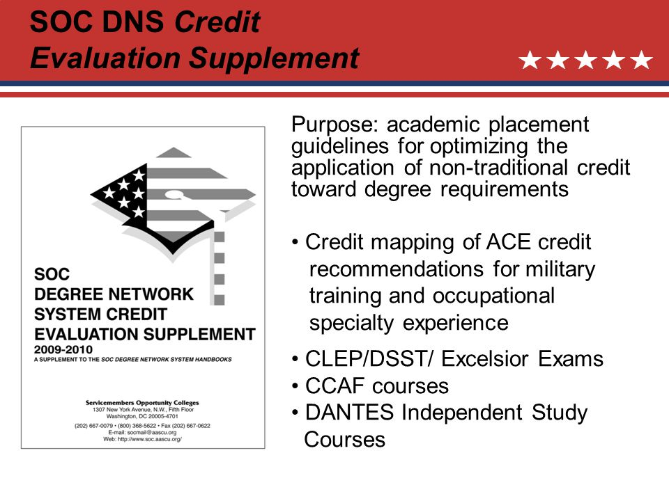 Purpose: academic placement guidelines for optimizing the application of non-traditional credit toward degree requirements Credit mapping of ACE credit recommendations for military training and occupational specialty experience CLEP/DSST/ Excelsior Exams CCAF courses DANTES Independent Study Courses SOC DNS Credit Evaluation Supplement