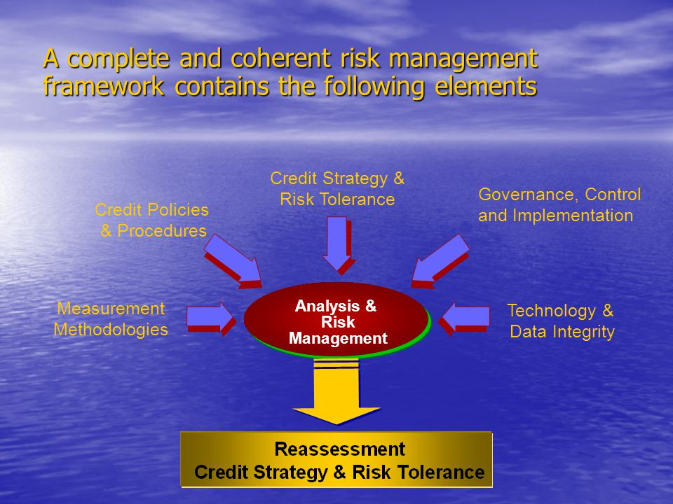 Credit Policies & Procedures Analysis & Risk Management Governance, Control and Implementation Measurement Methodologies Technology & Data Integrity Credit Strategy & Risk Tolerance A complete and coherent risk management framework contains the following elements