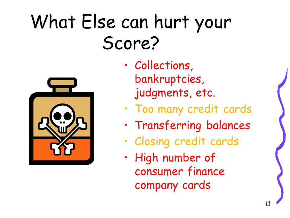 11 What Else can hurt your Score. Collections, bankruptcies, judgments, etc.