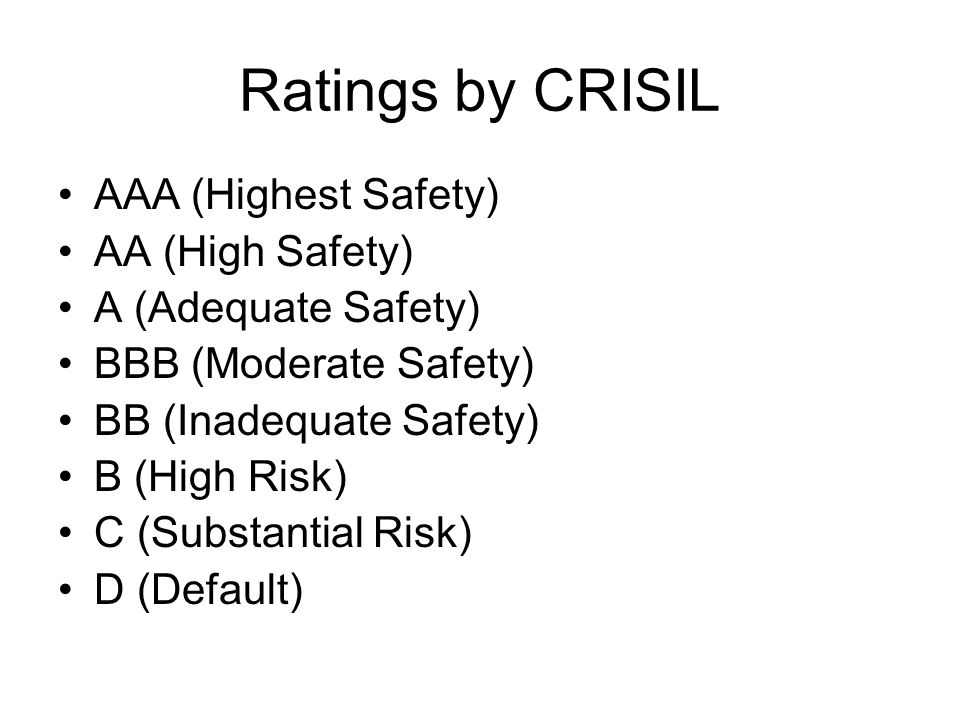 Ratings by CRISIL AAA (Highest Safety) AA (High Safety) A (Adequate Safety) BBB (Moderate Safety) BB (Inadequate Safety) B (High Risk) C (Substantial Risk) D (Default)
