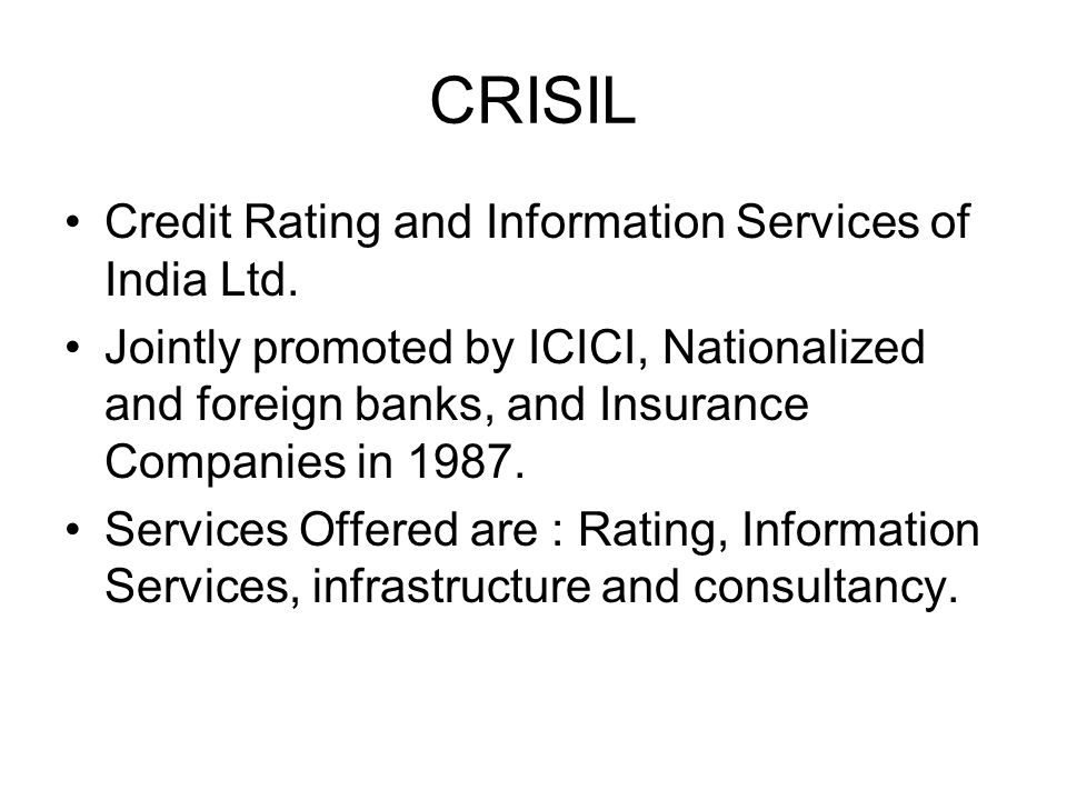 CRISIL Credit Rating and Information Services of India Ltd.